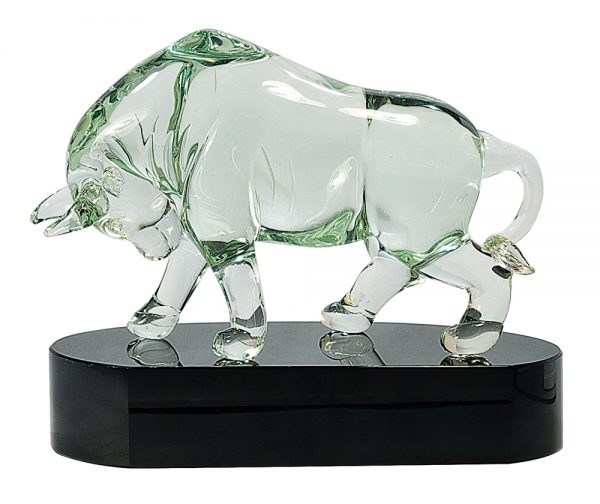 Clear Bull Art Glass Award